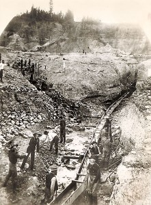 North Columbia, California mining crew working